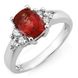 2.11 CTW Pink Tourmaline & Diamond Ring 14K White Gold - REF-56Y2X - 11395