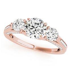 1.75 CTW Certified VS/SI Diamond 3 Stone Ring 18K Rose Gold - REF-427W3H - 27991