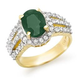 4.70 CTW Emerald & Diamond Ring 14K Yellow Gold - REF-140F9N - 13294