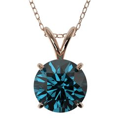 1.53 CTW Certified Intense Blue SI Diamond Solitaire Necklace 10K Rose Gold - REF-202Y5X - 36803