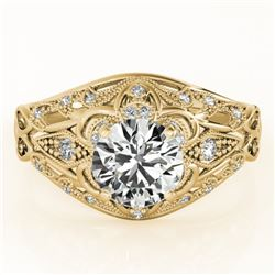 1.36 CTW Certified VS/SI Diamond Solitaire Antique Ring 18K Yellow Gold - REF-392V2Y - 27341