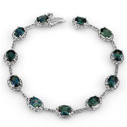 15.40 CTW Blue Sapphire & Diamond Bracelet 10K White Gold - REF-96V7Y - 11733