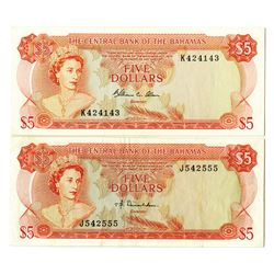 Central Bank of the Bahamas, L.1974, Issued Banknote Pair.