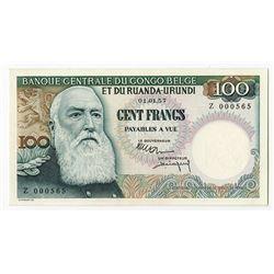 Banque Centrale Du Congo Belge et Du Ruanda-Urundi 1957 Issue Banknote.