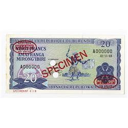 Banque De La Republique Du Burundi, 1968 Specimen Banknote.