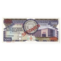 Banque De La Republique Du Burundi, 1978 Specimen Banknote.