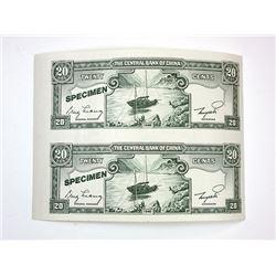 Central Bank of China - De La Rue Giori Uncut Sample note Pair, ca.1950-70's.