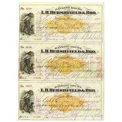Banking House of L.H. Hershfield & Bro., 1871  Original   Checks Payable to Chinese Companies in San