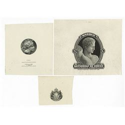 Banque Nationale De Grece Proof Vignette Trio Used on ABN Printed Greek Banknotes.
