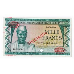 Banque Central De La Republique De Guinee, 1960 Specimen Banknote.
