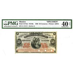 "Mexico Banco Minero Chihuahuense, 1880, Specimen Note With Outstanding ""11111"" Serial Number."