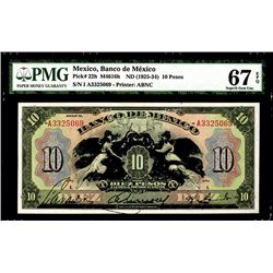 Banco De Mexico, ND (1925-34) Issued Banknote, Highest Graded in PMG Census.