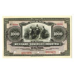 Bono De Caja, El Banco Mexicano De Comercio E Industria, ND (ca.1890-1910) Specimen Banknote.