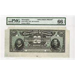 Banco Nacional De Nicaragua-National Bank of Nicaragua, 1912 Color Trial Banknote Proof.