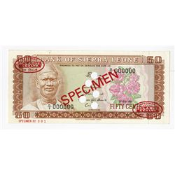 Bank of Sierra Leone, 1981 Specimen Banknote.