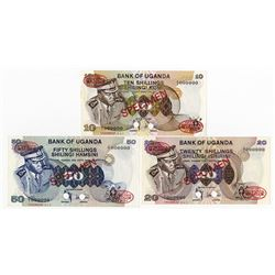 Bank of Uganda, ND (1973) Specimen Banknote Trio.