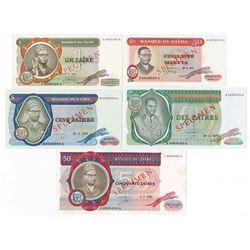 Banque Du Zaire, 1972 to 1980 Specimen Banknote Quintet.
