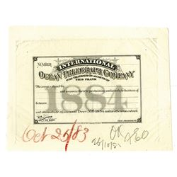 International Ocean Telegraph Company, 1883-84 Unique Approval Proof Pass.