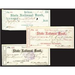 Checks Dated 1879 Signed by the infamous Edward A. Burke former Treasurer of Louisiana.