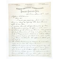 State Central Committee, Democratic-Conservative Party, 1876 2 Page Letter with Considerable Politic