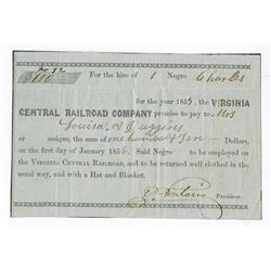 Virginia Central Railroad, 1855 Issued Slave Document.