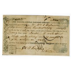 Virginia Central Railroad, 1864-1865 Issued Slave Document.