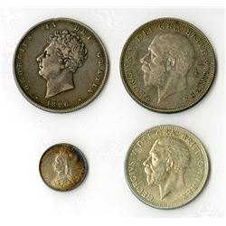 Great Britain: 1826-1936, Quartet of Silver Coins
