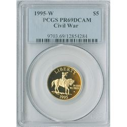 U.S. Civil War Commemorative, $5 1995 W, gold, PCGS graded PR69DCAM