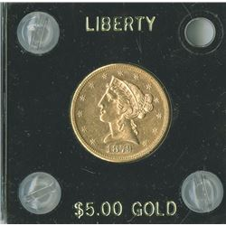 Liberty $5 1879,  Eagle Reverse, gold,  AU/UNC