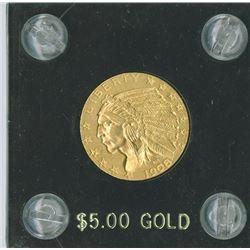 Liberty $5 1908  Eagle Reverse, gold, UNC