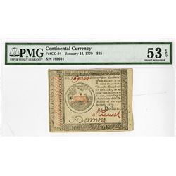 Continental Currency, January 14, 1779, $35 Fr#CC-94, Issued Colonial Banknote.