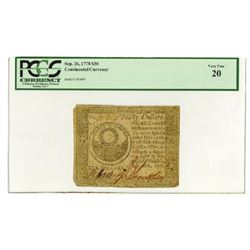 Continental Currency, Philadelphia, Sep.26, 1778, Colonial Note.