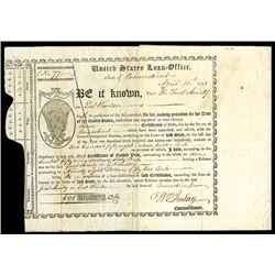 United States Loan Office Certificate, State of CT., Issued April 16th, 1793 and Signed by Imlay.,