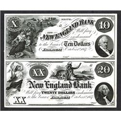 New England Bank, 1857 Uncut Proof Pair.