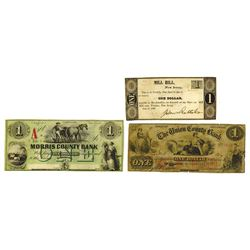 New Jersey Obsolete Banknote assortment, Various Issuers, 1830s-1860s, Trio of Obsolete Notes.