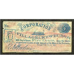 Corporation of the Village of Newburgh. 1862 Obsolete Scrip Note.