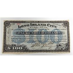 Improvement Certificate Long Island City, NY, 1876 Issued Circulating Obsolete Bond/Banknote.