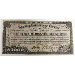 Improvement Certificate Long Island City, NY, 1878 Issued Circulating Obsolete Bond/Banknote.