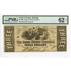 State of North Carolina, 1863 Issued Obsolete Banknote with Low Serial# 34.