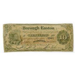 Borough of Easton, 1862 Obsolete Scrip Note.