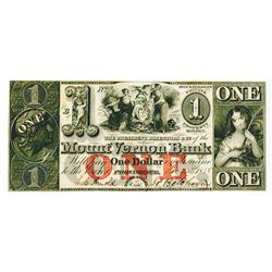 Mount Vernon Bank, 1858 Issued Obsolete Banknotes.