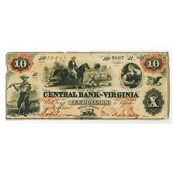 Central Bank of Virginia, 1860 Obsolete Banknote.