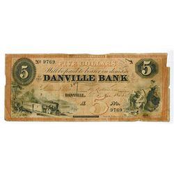 Danville Bank, 1858 Obsolete Banknote.
