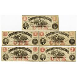 Virginia Treasury Note, 1862 banknote quintet.