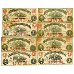 Virginia Treasury Note, 1862, Lot of 7 Obsolete Banknotes.