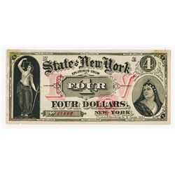 Merritt's Dining Rooms, New York $4 Advertising Note, ca.1870's.