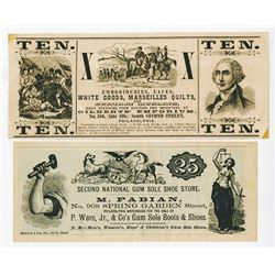Philadelphia Ad Note Pair, ca.1870's.