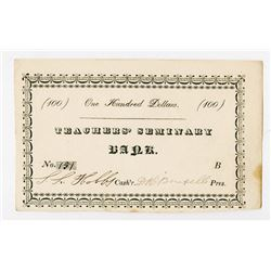 Salem, Massachusetts, Teachers' Seminary Bank, ND (caq.1820-40's) Early College Currency