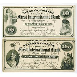 Nelson's College Currency. First International Bank, 1870 Obsolete Banknote Pair.