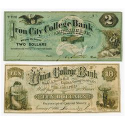 College Currency 1866 Banknote Pair
